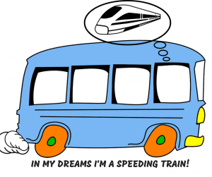 Cartoon of a bus dreaming of being an express train
